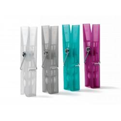Domopak - sada 24 ks středních plastových kolíčků - fialová - zelená - bílá - šedá